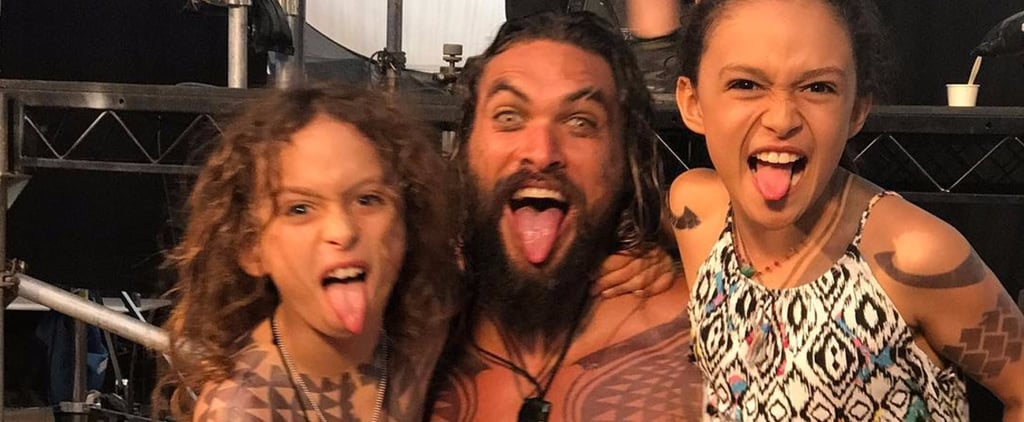 "Jason Momoa Is a Proud ""Aqua Papa"" on Set With His Tattooed Kids"