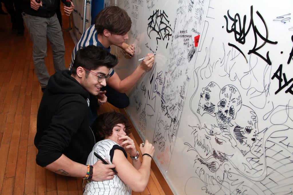 Louis Tomlinson, Zayn Malik, and Harry Styles at SiriusXM in New York in 2012