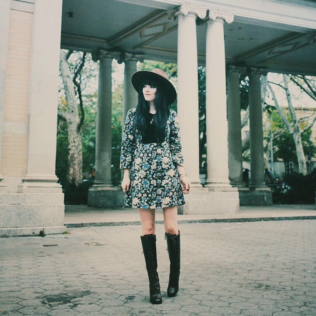 A Floral Dress, Over-the-Knee Boots, and a Wide-Brim Hat