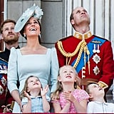 June: Kate attended Trooping the Colour with the royal family.