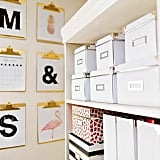 Hang Clipboards and Stack Pretty Boxes For a Neat Office