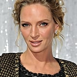Uma Thurman at Paris Fashion Week.