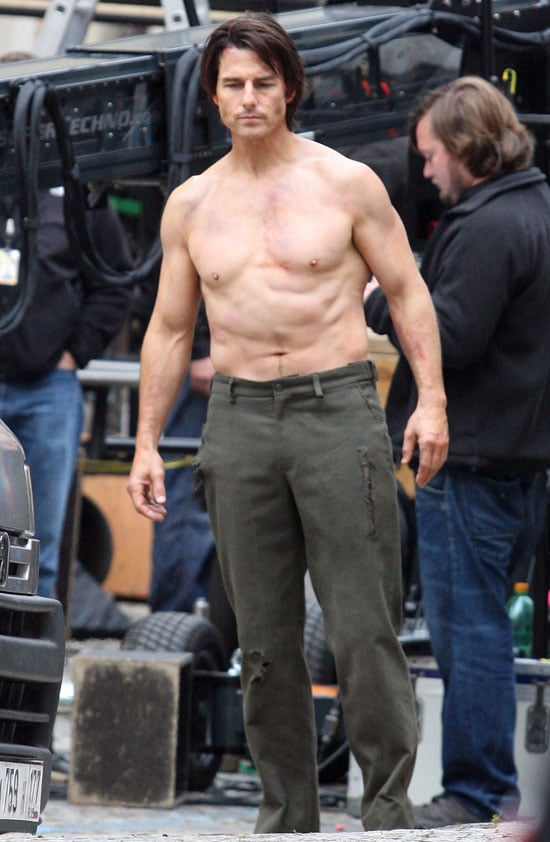 Tom Cruise was shirtless for the filming of Mission: Impossible —Ghost Protocol in October 2010.