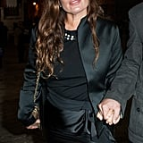 Jade Jagger wore all black to the Lanvin show.
