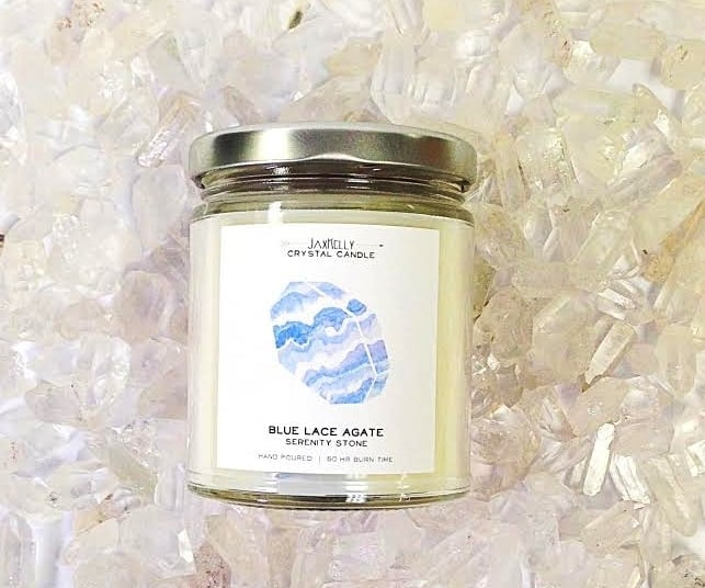 Blue Lace Agate and Ginger Blossom Candle ($22)