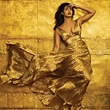 Priyanka wearing an Oscar de la Renta dress and Tom Ford dress for the cover shoot.