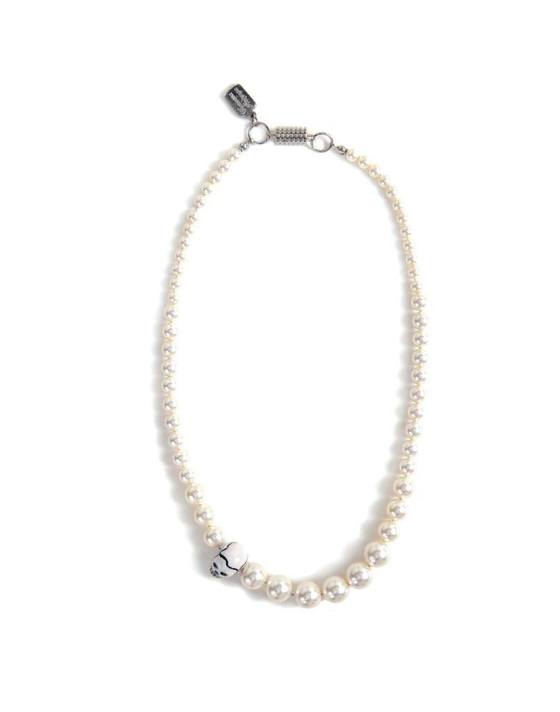 """Venessa Arizaga Sweet & Vicious Necklace ($150) """"Every girl needs a set of pearls, but I like a string with a twist. These aren't your grandma's pearls! This necklace is lovely but for a cooler lady with personality and edge. The skull swapped in for the one pearl really does make this necklace sweet and vicious."""""""