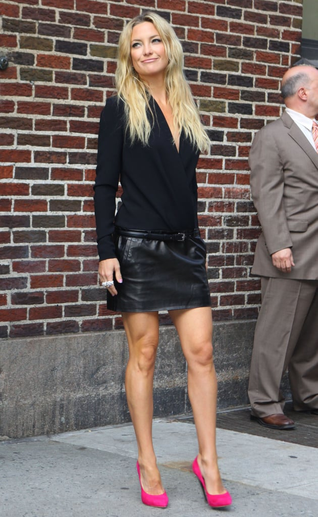 Kate Hudson changed into an all black ensemble after her appearance on The Late Show.
