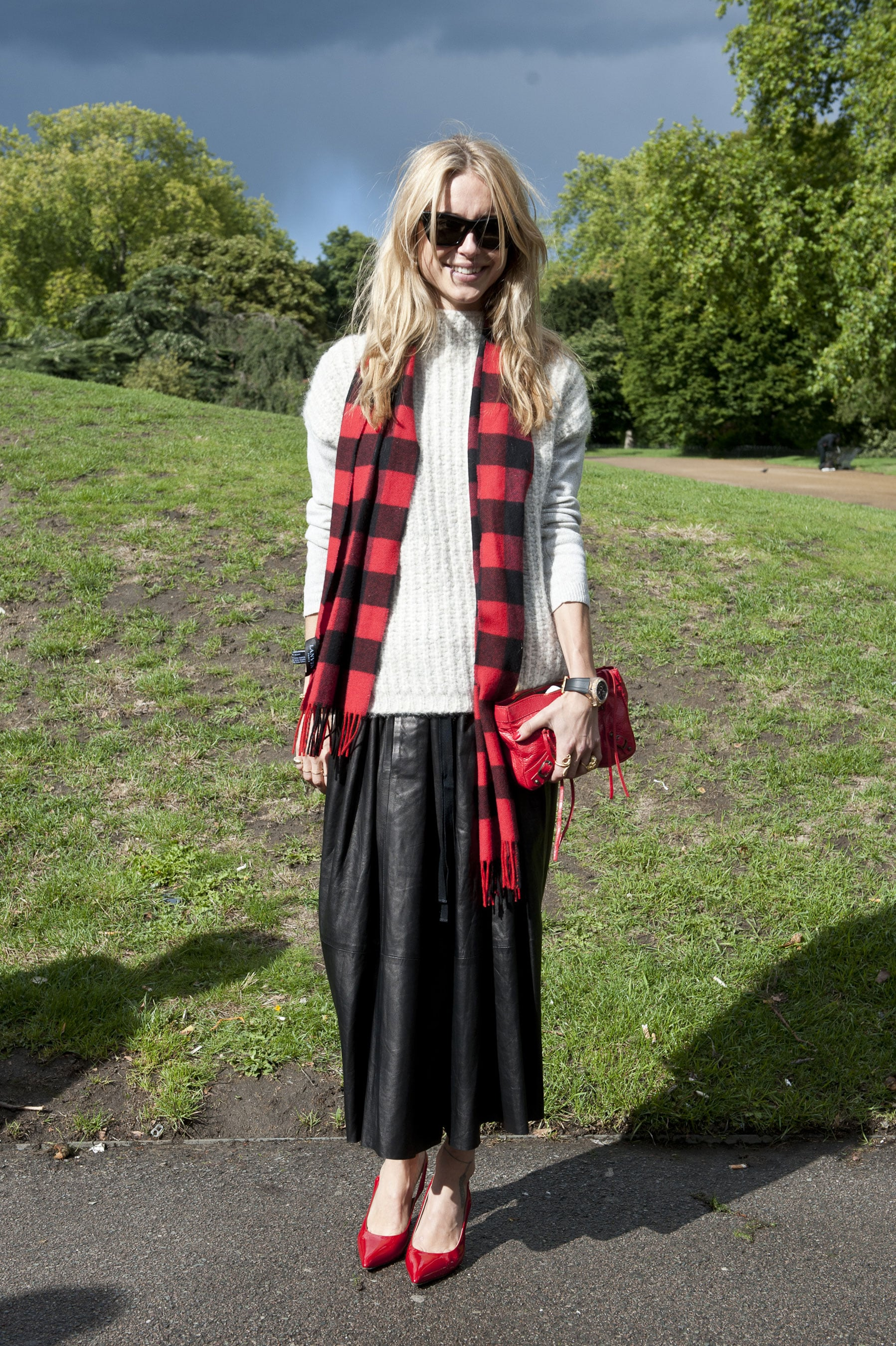 Channeling Fall with a checked scarf and a fuzzy knit.