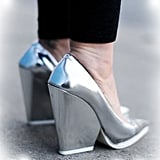 Inject a drab Winter look with a pair of metallic pumps for unexpected shine.