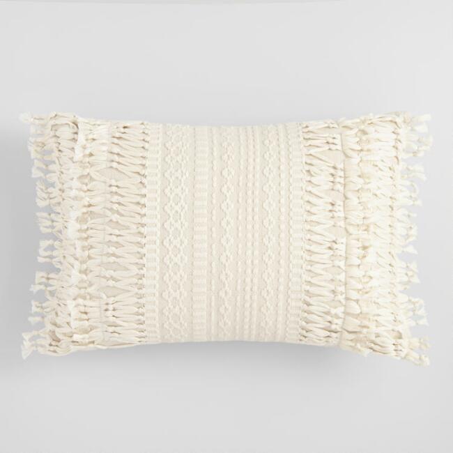 Ivory Geo Fringe Indoor Outdoor Lumbar Pillow