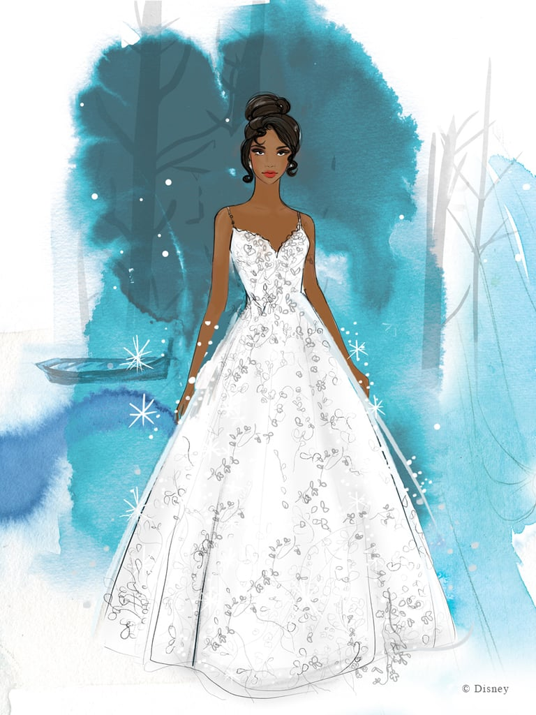 When you wish upon a star, you get a wedding dress fit for a princess. Disney is ready to help brides take the next step toward happily ever after with its upcoming line of Allure Bridals dresses. The Disney Fairy Tale Weddings Collection will include 16 styles paying tribute to the most iconic animated princesses, like Ariel, Aurora, Belle, Jasmine, Cinderella, Pocahontas, Rapunzel, Tiana, and Snow White. From romantic ballgowns to mermaid trains, early sketches of the dresses appear to be just as elegant as the ones you've seen on screen. The full line will be released during New York Bridal Fashion Week in April 2020, and dresses (priced from $1,200 to $10,000) will start popping up in sizes 0 to 30. Check out a few early dress designs below as you count down the days till Spring.       Related:                                                                                                           25 Adorable Disney-Themed Wedding Favors That Your Guests Can Actually Use