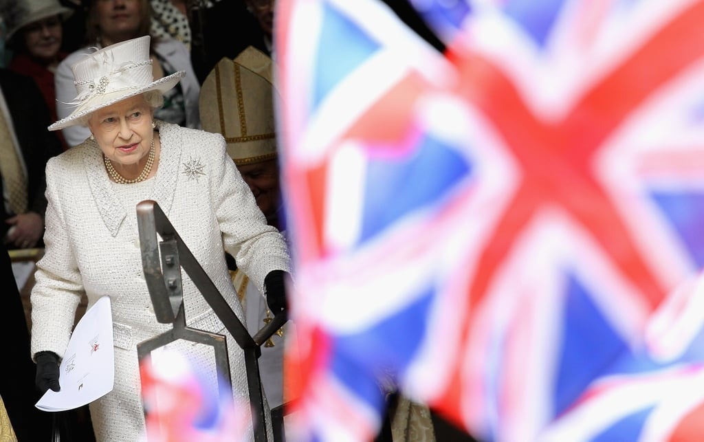 The Queen left a service in Cardiff, Wales. The Queen and Duke of Edinburgh took a two-day visit of Wales in April.
