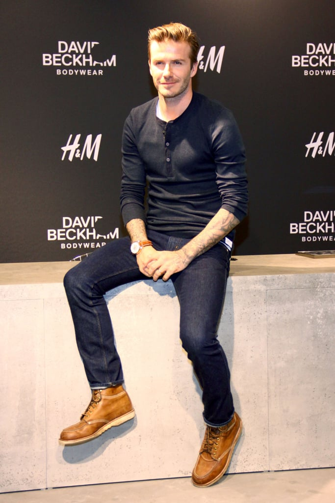 """David Beckham traveled to Berlin today to promote his underwear line for H&M. While he didn't strip down to his skivvies at the store appearance, he did sign items for a few fans and posed with his boxer briefs. David's shirtless underwear ads caused some rumors that he used a body double for the campaign, but he recently confirmed that the ads are all him. He said, """"I can say the crotch is mine and the backside is mine as well."""" David has been traveling all over Europe over the past few days. He played with his team, Paris Saint-Germain, in France on Sunday and then took a trip back home to London to  be with daughter Harper on Monday. He'll have time to visit his family and keep up with his promotions over the next week, as his team's next match won't take place until the end of March."""