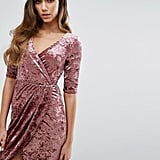 Club L Wrap Front Crushed Velvet Dress