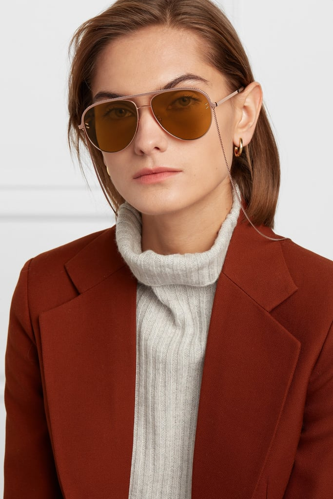 c7a6a3a93eda STELLA MCCARTNEY Aviator-style rose-gold-tone and acetate sunglasses ...