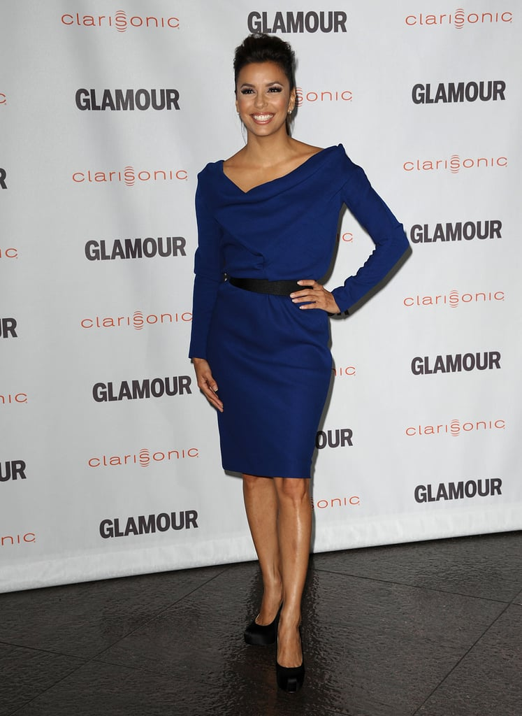 Longoria worked a structured indigo Victoria Beckham sheath with black satin Brian Atwood pumps in October 2011.