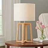 Mainstays Wood Geometric Base Table Lamp