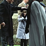 Prince Philip gave his granddaughter Eugenie's hat a playful tap as they left church in 1998.