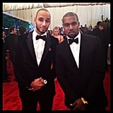 Swizz Beatz and Kanye West were dapper in tuxes. Source: Instagram User therealswizz