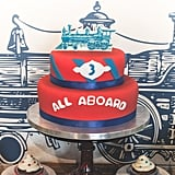 "The exquisite ""All Aboard"" tiered cake was the work of Keren's Party Cakes.  Source:  Clay Williams and Alex Nirenberg for Keren Precel Events"