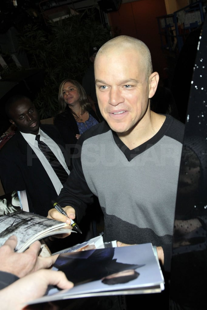 Matt Damon signed autographs in NYC.