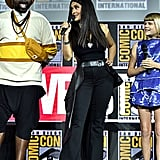 Pictured: Brian Tyree Henry, Salma Hayek, and Lia McHugh at San Diego Comic-Con.