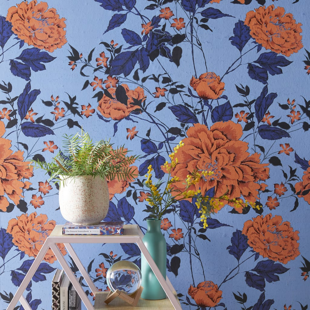 Orange and Blue Vintage Floral Peel-and-Stick Wallpaper