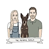 Happy Bear Designs Custom Couple and Pet Portraits, From $120