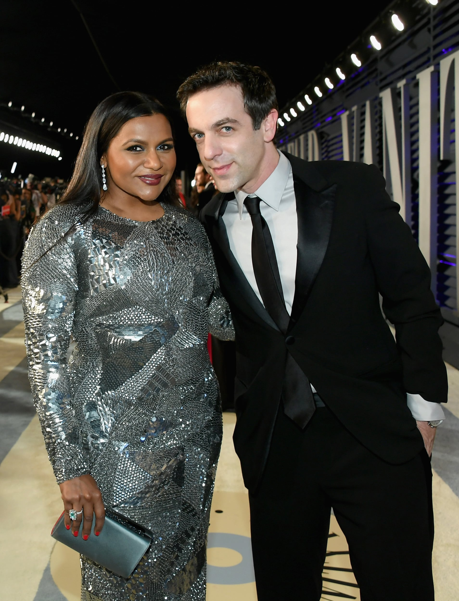 BEVERLY HILLS, CA - FEBRUARY 24:  Mindy Kaling (L) and B. J. Novak attend the 2019 Vanity Fair Oscar Party hosted by Radhika Jones at Wallis Annenberg Centre for the Performing Arts on February 24, 2019 in Beverly Hills, California.  (Photo by Mike Coppola/VF19/Getty Images for VF)