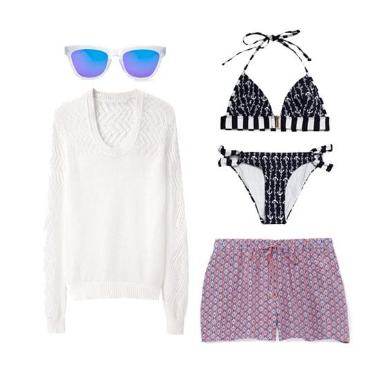 Shake things up for a poolside party or beach BBQ — instead of your go-to denim cutoffs, why not try a breezy pair of printed shorts? Layer your bikini with an open-knit sweater (it'll come in handy when the temperature drops), and don't forget to protect your face from the sun with a rad pair of mirrored sunglasses. Shop this look:  Westward Leaning No. 9 Color Revolution Sunglasses ($165)