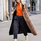 Style Your Leopard-Print Coat With: A Bright Sweater, Jeans, and Boots