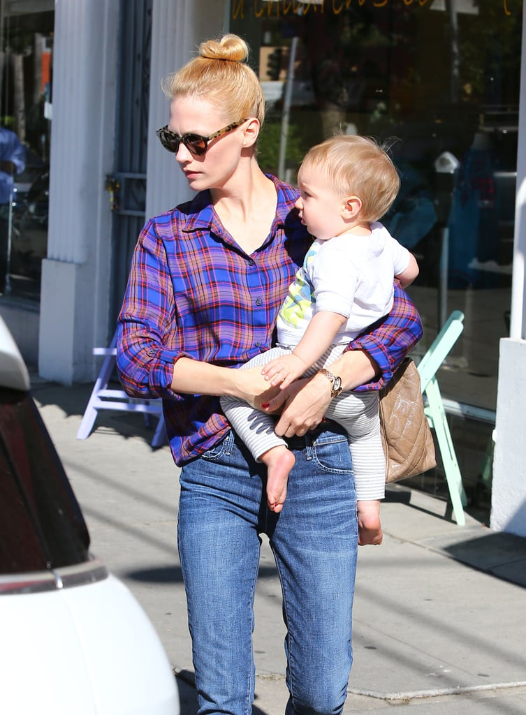 January Jones carried son Xander while out in Los Feliz, CA.