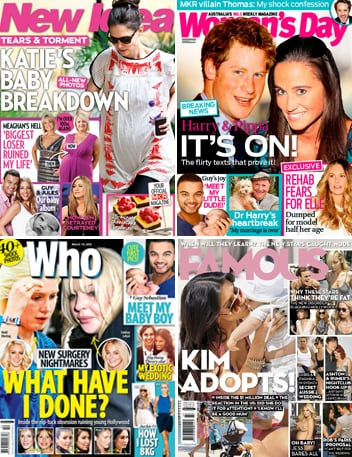 Australian Weekly Magazine Round Up for March 19th 2012 With New Idea, Famous, NW and Who