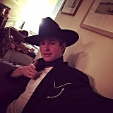 Ansel Elgort kept it simple with his cowboy outfit.