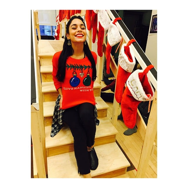 Vanessa Hudgens gave us a peek at her too-cute holiday sweater.