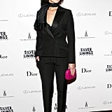 Jennifer Lawrence switched gears in a Christian Dior black tuxedo suit and finished with strappy sandals and a fuchsia Dior clutch at the Silver Linings Playbook premiere in New York City.