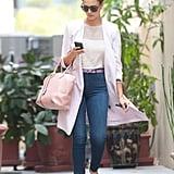 Jessica Alba Carrying Light Pink Louis Vuitton Bag