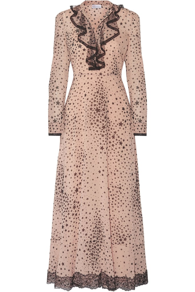 RED Valentino Lace-Trimmed Printed Stretch-Silk Georgette Gown