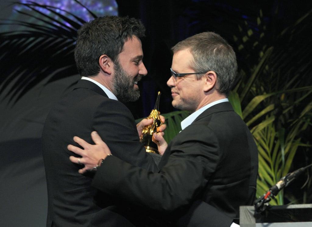Ben Affleck accepted an honour at the Santa Barbara Film Festival from long-time friend Matt Damon.