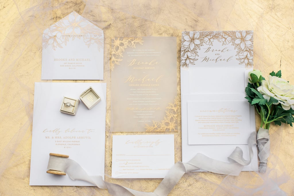 gold floral wedding invitation - When To Send Out Wedding Invites