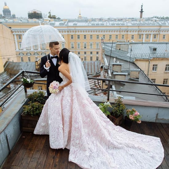 Yulia Saparniiazova Wearing Malyarova Olga Wedding Dress