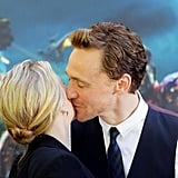 Tom Hiddleston gave Scarlett Johansson a kiss on the cheek.