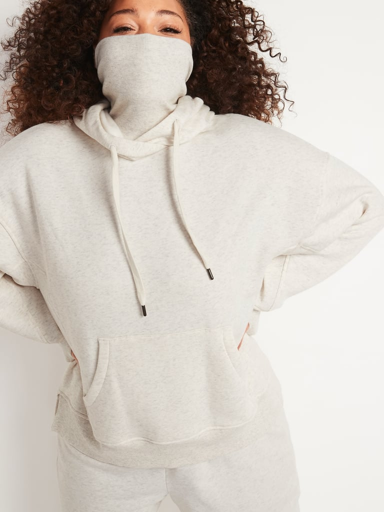 Oversized Rib-Knit Funnel-Neck Pullover Hoodie