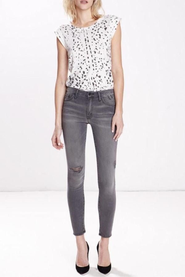 Mother Denim Charcoal Frayed Jeans ($196)