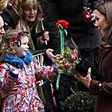 Kate was greeted with a toy rose from fans outside Liverpool's Alder Hey Children's Hospital on Valentine's Day in 2012.