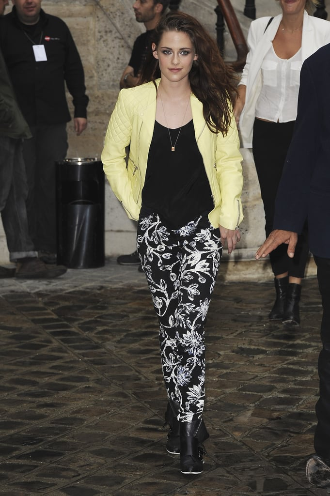 Kristen Stewart headed into Balenciaga's Fashion Week runway presentation in Paris.
