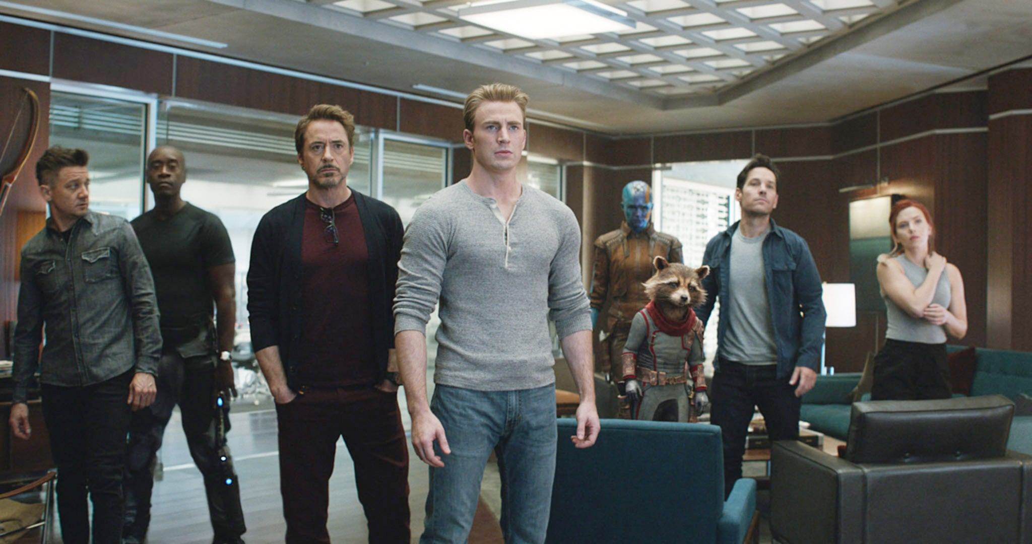 AVENGERS: ENDGAME, (aka AVENGERS 4), from left: Jeremy Renner, Don Cheadle, Robert Downey Jr., Chris Evans, Karen Gillan, Bradley Cooper (voice of Rocket), Paul Rudd, Scarlett Johansson, 2019.  Walt Disney Studios Motion Pictures /  Marvel Studios / courtesy Everett Collection