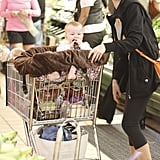 Haven Warren was pushed around in a shopping cart by mom Jessica Alba at Whole Foods Market in LA.
