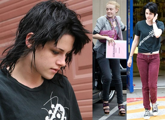12/6/2009 Kristen Stewart New Haircut + Dakota Fanning, The Runaways